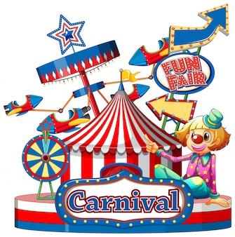 Modèle de signe de carnaval avec de nombreux manèges en arrière-plan