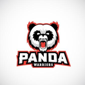 Modèle de signe, d'emblème ou de logo de guerriers panda avec le visage et la typographie d'ours en colère de mascotte d'équipe de sport.