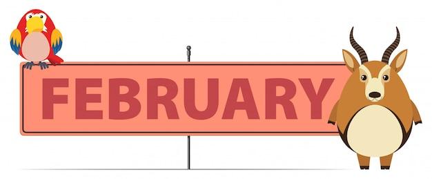 Modèle de signe pour février avec gazelle