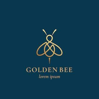 Modèle de signe, symbole ou logo abstrait abeille dorée.