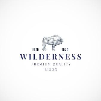 Modèle de signe, symbole ou logo abstrait de buffalo sauvage.