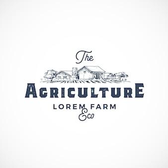 Modèle de signe, symbole ou logo abstrait de ferme agricole.