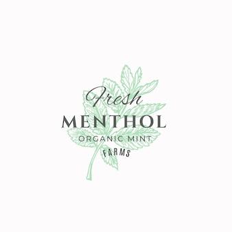 Modèle de signe, symbole ou logo abstrait de fermes de menthol frais.