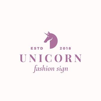 Modèle de signe, symbole ou logo abstrait licorne minuscule. élégante petite silhouette de licorne avec typographie rétro. emblème féminin de luxe vintage.
