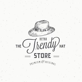 Modèle de signe, symbole ou logo abstrait de magasin de chapeau rétro.