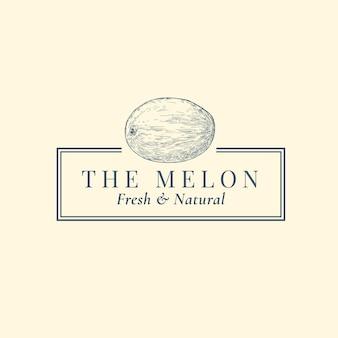 Modèle de signe, symbole ou logo abstrait melon.
