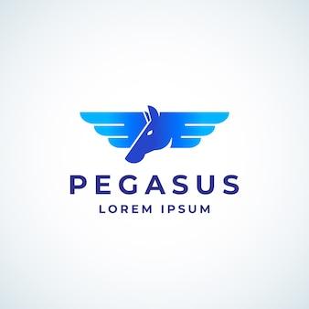 Modèle de signe, de symbole ou de logo de pegasus absrtract ailé.