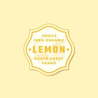 Modèle de signe, symbole ou logo vectoriel abstrait citron bio