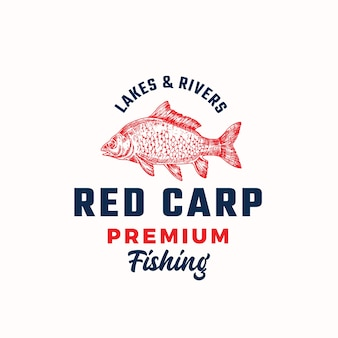 Modèle de signe, symbole ou logo vectoriel abstrait de pêche premium