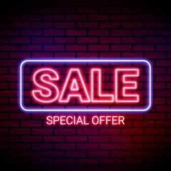 Modèle de signe de vente d'offre spéciale au néon