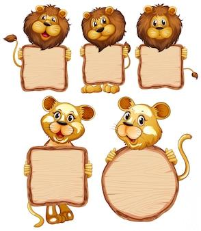 Modèle de signe vierge avec de nombreux lions sur fond blanc