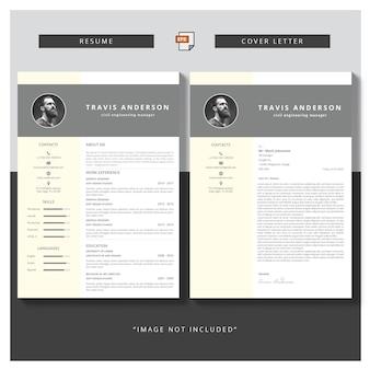 Modèle simple moderne pour le curriculum et la lettre de motivation
