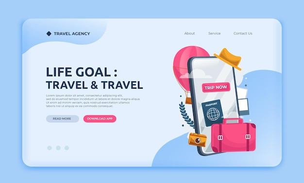 Modèle de site web d'agence de voyage de page de destination