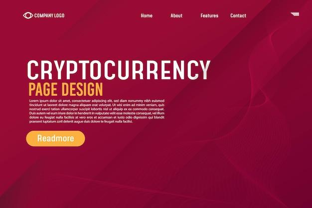 Modèle de site web d'arrière-plan de la page d'atterrissage dégradé de crypto-monnaie pour les sites web ou les applications