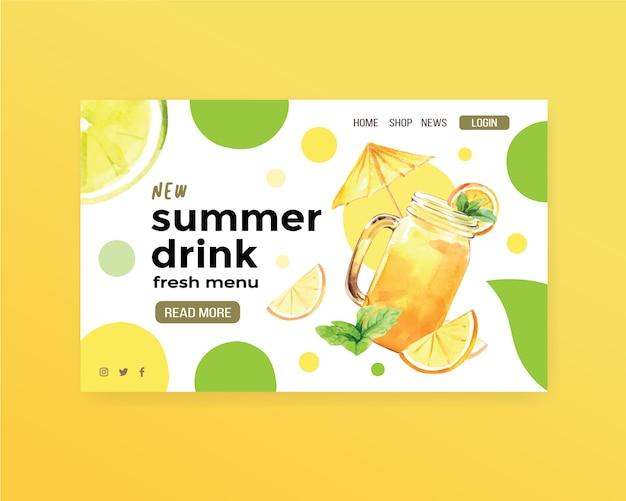 Modèle de site web de boisson d'été