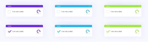 Le modèle de site web avec un captcha. un ensemble de conceptions d'interface utilisateur vectorielles.