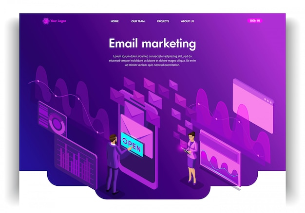 Modèle de site web. concept isométrique email inbox communication électronique. publicité par e-mail. édition et personnalisation de la page de destination faciles