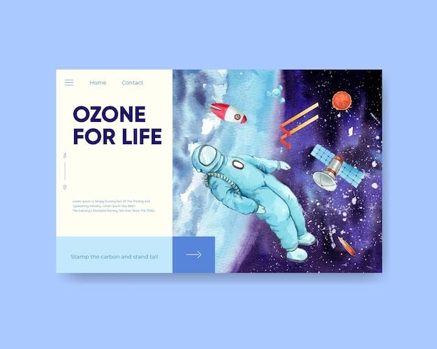 Modèle de site web avec le concept de la journée mondiale de l'ozone, style aquarelle