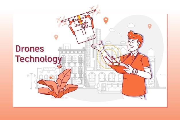 Modèle de site web créatif du service de livraison drone