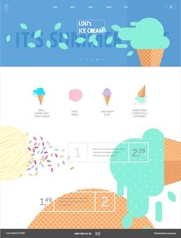 Modèle de site web de crème glacée