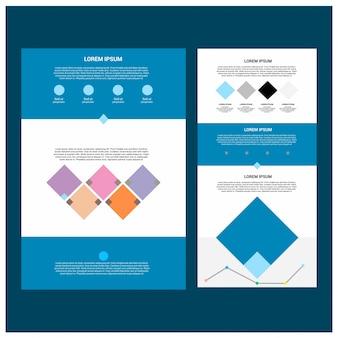 Modèle de site web de deux pages et différentes conceptions d'en-tête.