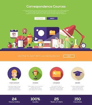 Modèle de site web d'éducation par correspondance en ligne