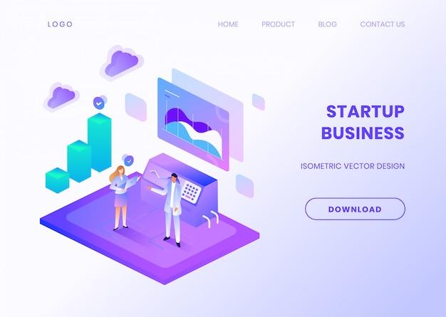Modèle de site web d'entreprise de démarrage avec illustration isométrique