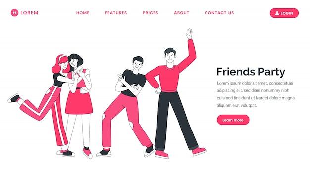 Modèle de site web de fête d'amis