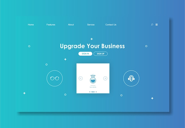 Modèle de site web avec un fond bleu