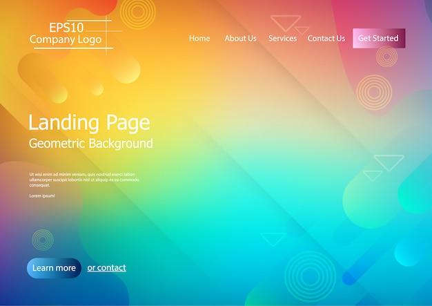 Modèle de site web avec fond de forme géométrique coloré