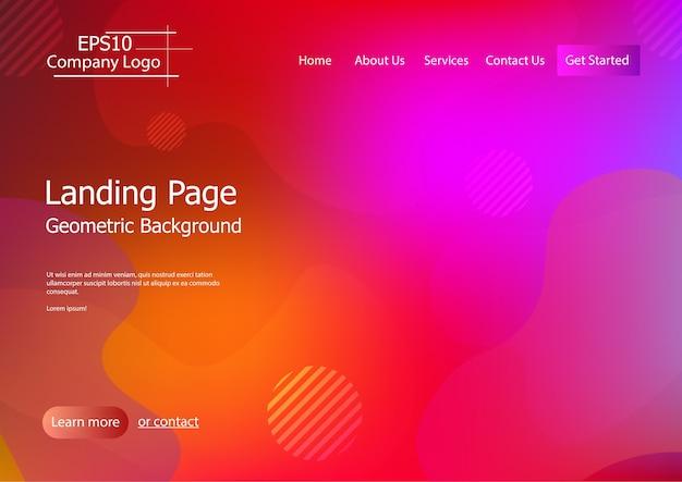Modèle de site web avec une forme géométrique colorée fond vecteur eps10 1