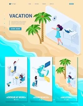 Modèle de site web isométrique fille de concept de page d'atterrissage passe du bureau aux vacances via une tablette