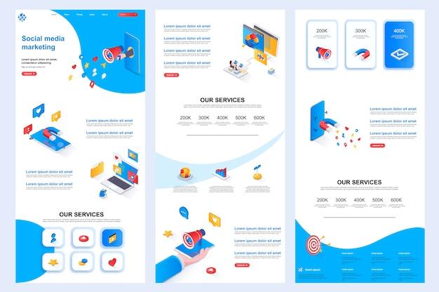 Modèle de site web isométrique pour le marketing des médias sociaux, contenu central et pied de page