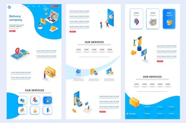 Modèle de site web isométrique de la société de livraison, contenu central et pied de page