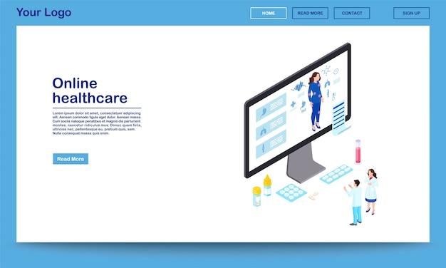 Modèle de site web isométrique de soins de santé en ligne.