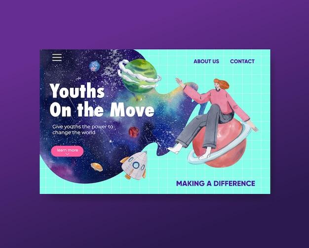 Modèle de site web avec la journée internationale de la jeunesse dans un style aquarelle