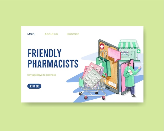 Modèle de site web avec la journée mondiale des pharmaciens dans un style aquarelle