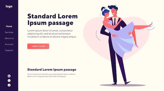 Modèle de site web de marié tenant la mariée en armes