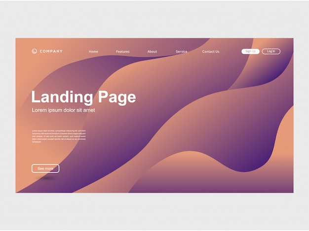 Modèle de site web moderne de gradation de couleur à la mode
