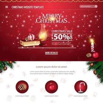 Modèle de site web de noël avec livre de noël et vieille lanterne