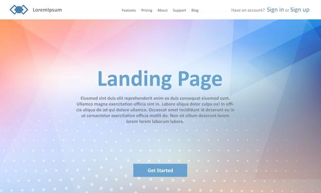 Modèle de site web de page d'atterrissage avec design low poly abstrait
