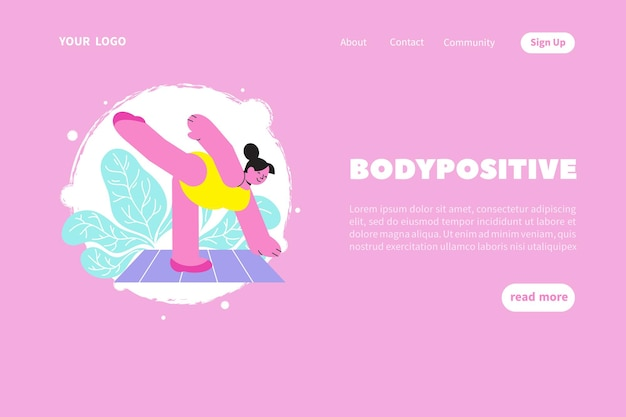 Modèle de site web ou de page de destination body positive