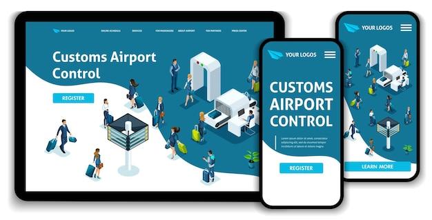 Modèle de site web page de destination concept isométrique aéroport international, contrôle douanier de l'aéroport, voyage d'affaires. facile à éditer et à personnaliser, ui ux adaptatif.