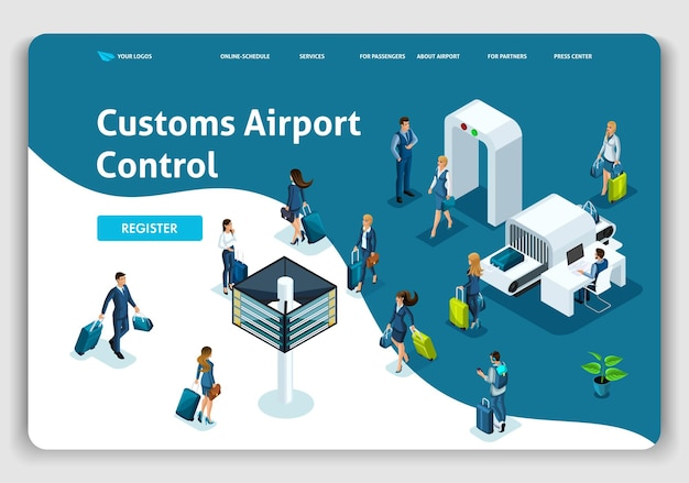 Modèle de site web page de destination concept isométrique aéroport international, contrôle douanier de l'aéroport, voyage d'affaires. facile à modifier et à personnaliser.