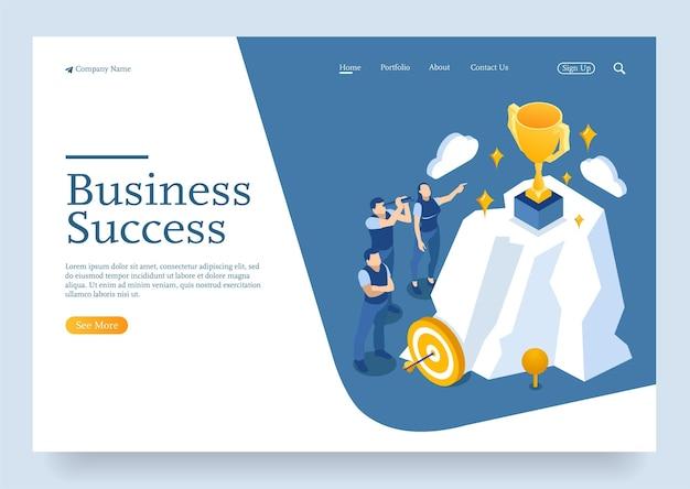 Modèle de site web page de destination concept isométrique de jeunes entrepreneurs démarrent un projet réussi