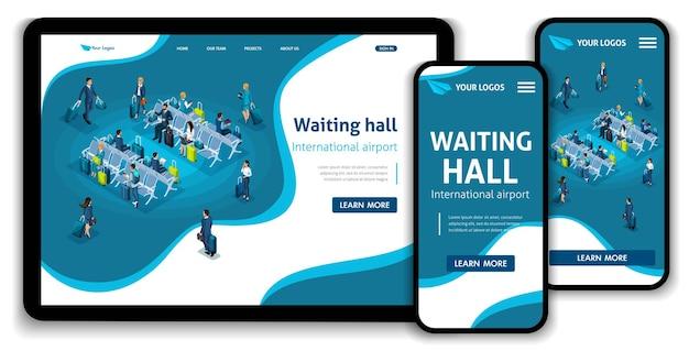 Modèle de site web page de destination concept isométrique passagers dans la salle d'attente, aéroport international, voyage d'affaires. facile à éditer et à personnaliser, ui ux adaptatif.