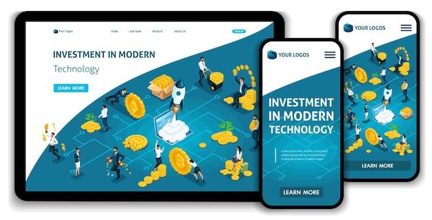 Modèle de site web page de destination investissement de concept isométrique dans la technologie moderne, les investisseurs portent de l'argent au groupe d'investissement. facile à modifier et à personnaliser.