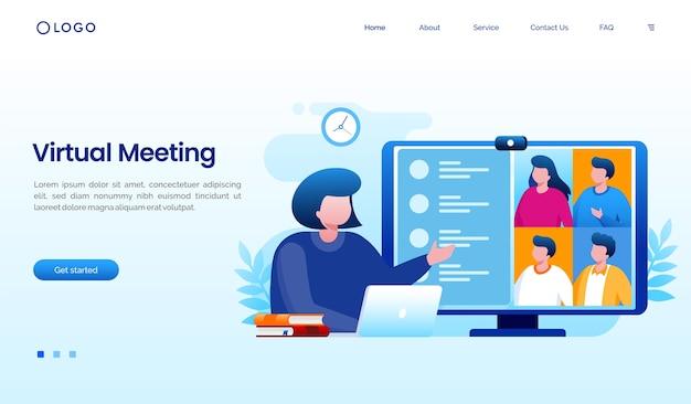 Modèle de site web de page de destination de travailleur de réunion virtuelle