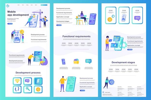 Modèle de site web plat pour le développement d'applications mobiles, contenu central et pied de page