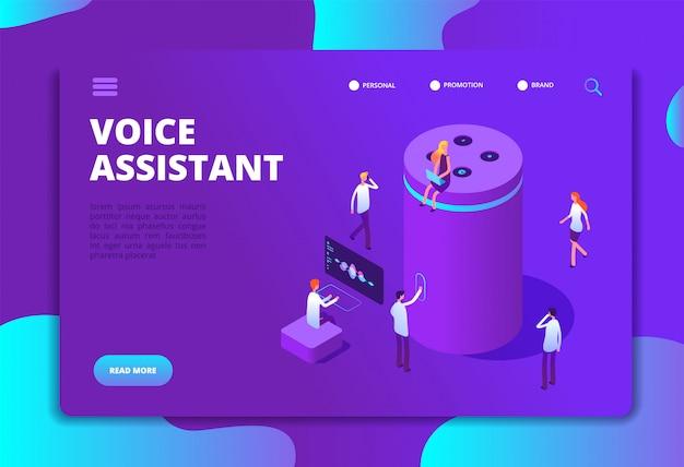 Modèle De Site Web Pour Assistant Vocal Vecteur Premium